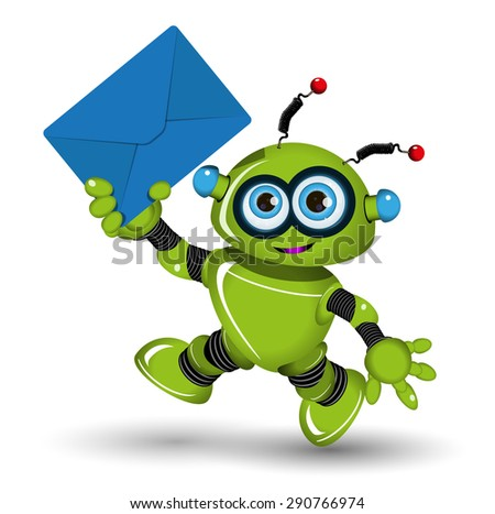 Illustration of a green robot with blue envelope - stock vector