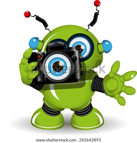 Illustration of a green robot with photo camera