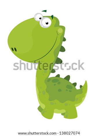 illustration of a green smiling dino - stock vector