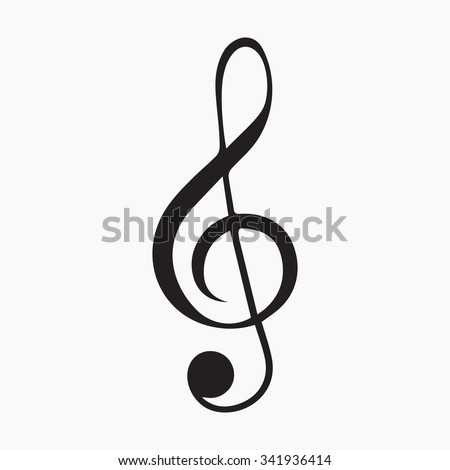 Illustration of a grey clef. Isolated vector Illustration. Black on Gray background. EPS Illustration. - stock vector