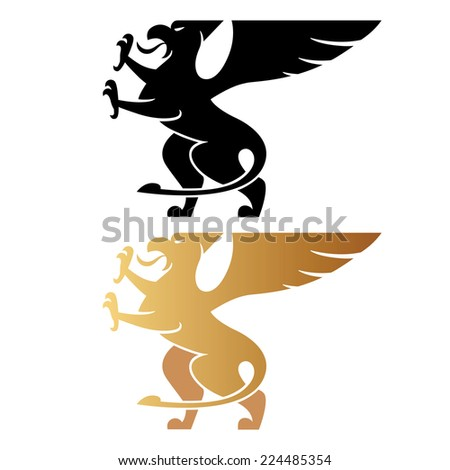 Illustration of a griffin with their paws on a white background. Vector. Logo. Sign. - stock vector