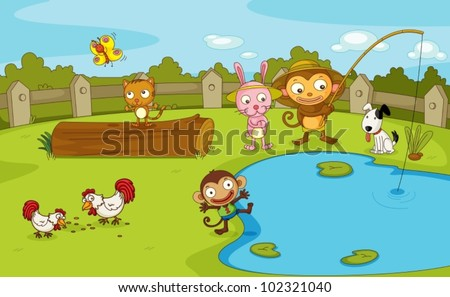 Illustration of a group of animals by the pond - stock vector