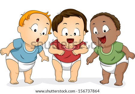 Illustration of a Group of Baby Boys in Diapers Looking Downwards - stock vector