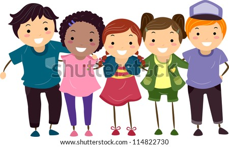 Illustration of a Group of Group Of Girlfriends Cartoon