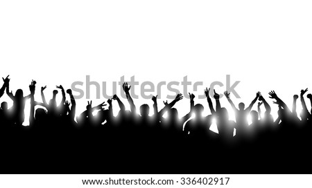 illustration of a group of dancing silhouettes of people with shining light