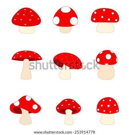 Illustration of a group of different shaped red mushrooms isolated on white - stock vector
