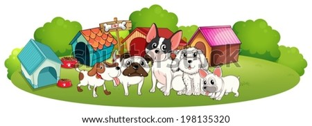 Illustration of a group of dogs outside their houses on a white background