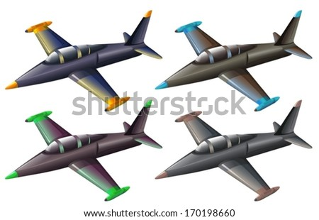 Illustration of a group of fighter jets on a white background - stock vector