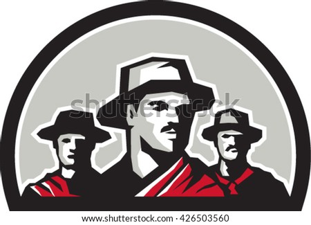Illustration of a group of gauchos set inside half circle shape on isolated background done in retro style.  - stock vector