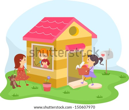 Illustration of a Group of Girls Playing House - stock vector