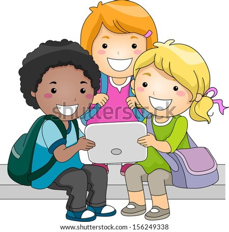 Illustration of a Group of Kids Checking a Computer Tablet Together - stock vector