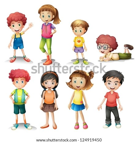Illustration of a group of kids on a white background - stock vector