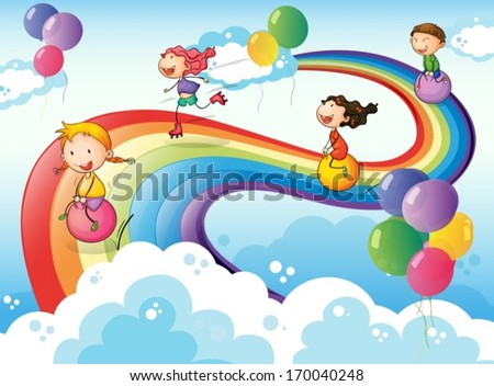 Illustration of a group of kids playing at the sky with a rainbow - stock vector