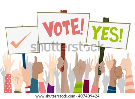 Illustration of a Group of People Carrying Election Related Placards - stock vector