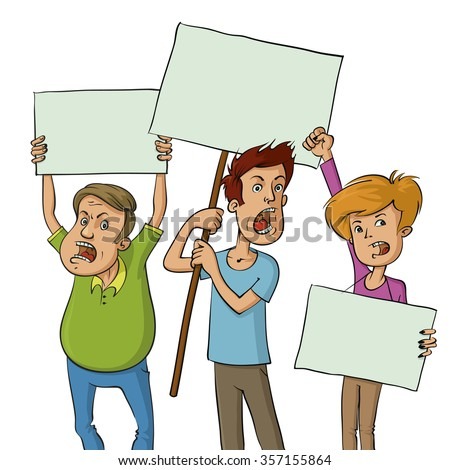 illustration of a group of protesters holding signs - stock vector