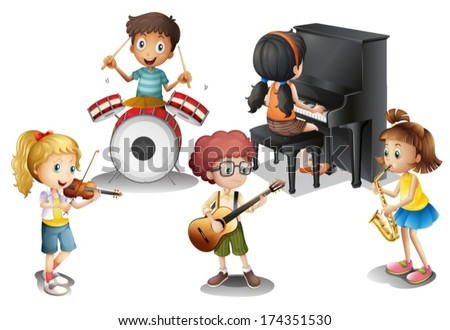 Illustration of a group of talented kids on a white background - stock vector