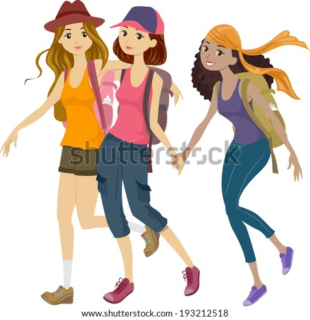 Illustration of a Group of Teens Off to a Mountaineering Trip - stock vector