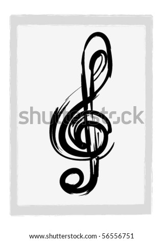 Illustration of a grunge G clef - stock vector