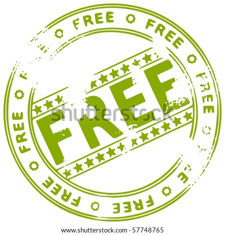 Illustration of a grunge rubber ink stamp FREE on white background - stock vector