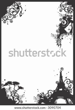 Black White House Butterflies Hearts Doodles Stock Vector