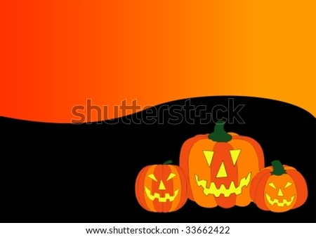 illustration of a halloween background with pumpkins