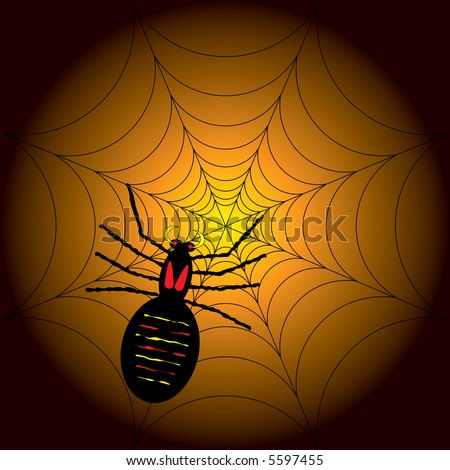 illustration of a halloween spider on its web with a orange and black background - stock vector