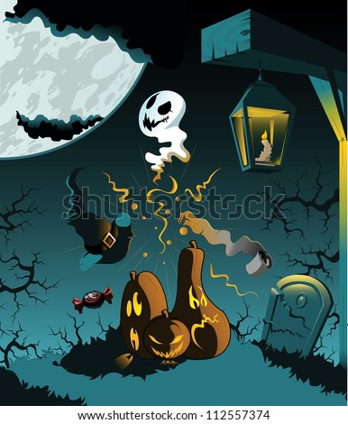 Illustration of a Halloween theme. Can be used as a Halloween card,Background or the elements can be used separately. Fully editable vector graphics. - stock vector