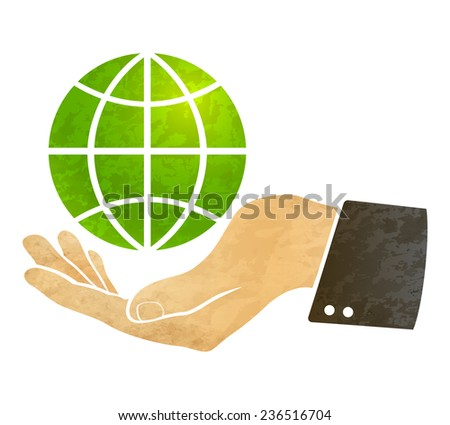 illustration of a hand and globe - stock vector