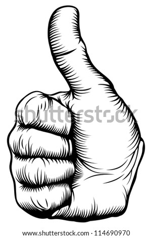 Illustration of a hand giving a thumbs up in a woodblock style - stock vector