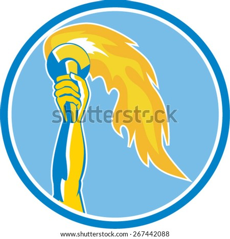 Illustration of a hand holding a burning flame flaming torch set inside circle done in retro style on isolated background.  - stock vector