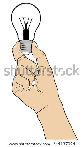 illustration of a hand holding a light bulb - stock vector