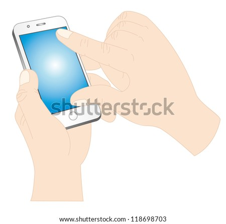 Illustration of a hand operating the smartphone