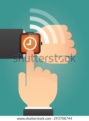 Illustration of a hand pointing a smart watch with a clock - stock vector