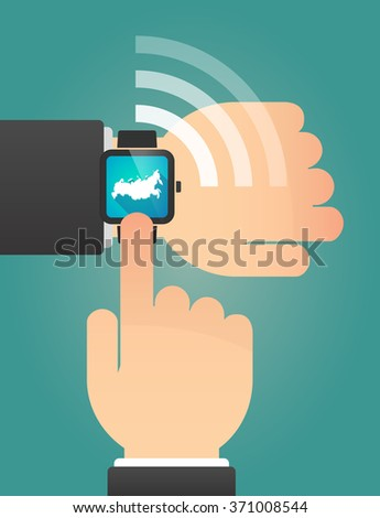 Illustration of a hand pointing a smart watch with  a map of Russia