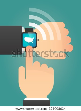 Illustration of a hand pointing a smart watch with  a map of the USA
