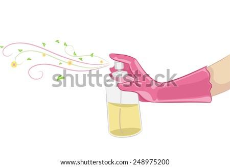 Illustration of a Hand Spraying Organic Air Freshener - stock vector