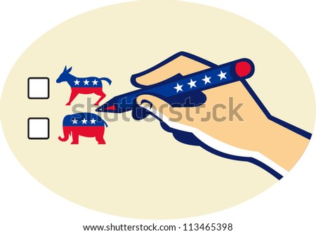 Illustration of a hand writing with pen voting american election ballot for democrat or republican party. - stock vector