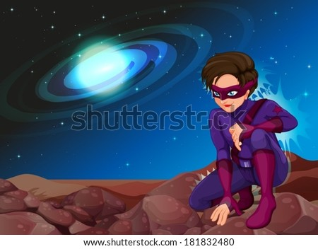 Illustration of a handsome superhero - stock vector