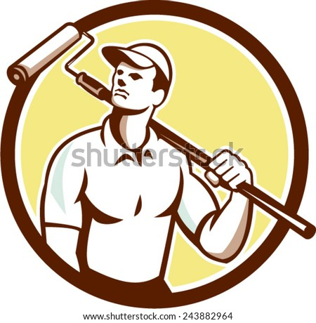 Illustration of a handyman house painter holding paint roller on shoulder set inside circle on isolated background done in retro style.  - stock vector