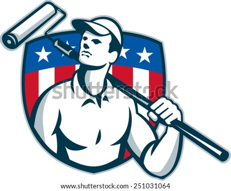 Illustration of a handyman tradesman carpenter painter carrying a paint roller looking up with American stars and stripes flag shield in the background done in retro style. - stock vector