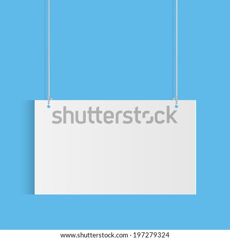 Illustration of a hanging sign against a colorful blue background. - stock vector