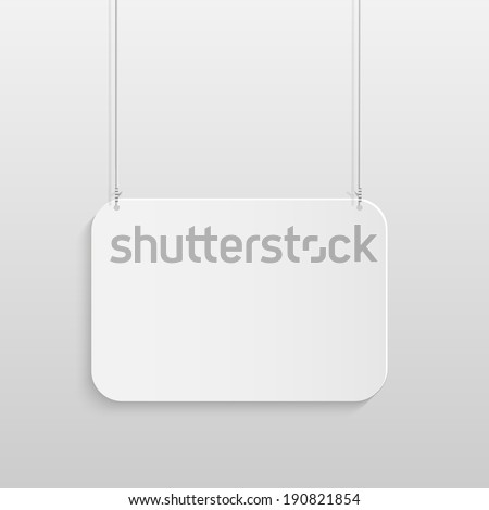 Illustration of a hanging sign against a light gray background. - stock vector