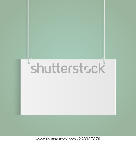 Illustration of a hanging sign isolated on a colorful background. - stock vector
