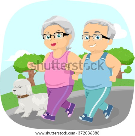Illustration of a Happily Married Senior Citizen Taking Their Dog for a Walk - stock vector