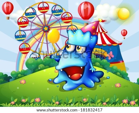 Illustration of a happy blue monster at the hilltop with a carnival