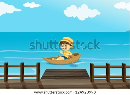 Illustration of a happy boy riding in a boat - stock vector