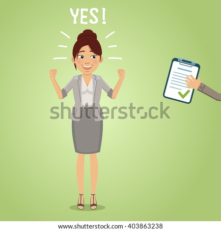 Illustration of a happy business woman with accepted document - stock vector