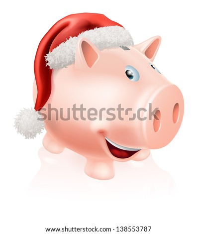 Illustration of a happy Christmas savings piggy bank with Santa hat on. Concept for saving money for Christmas or Christmas savings club.