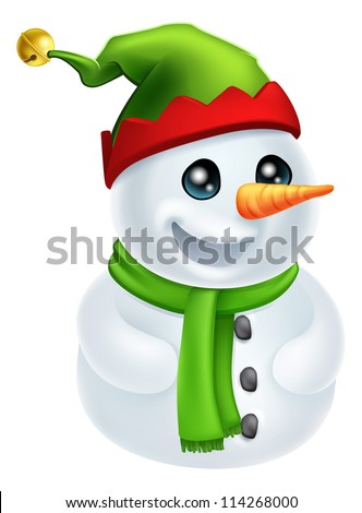 Illustration of a happy Christmas Snowman in an Elf Hat - stock vector