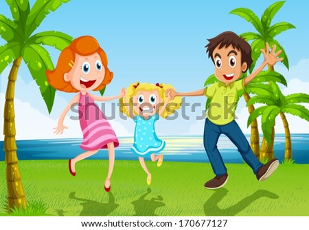 Illustration of a happy family dancing near the river